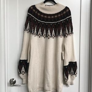Free People Neutral Combo Long Sweater Dress L